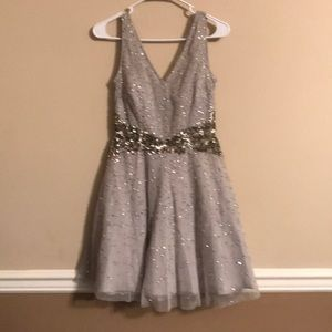 Grey tulle prom dress with sequined waist